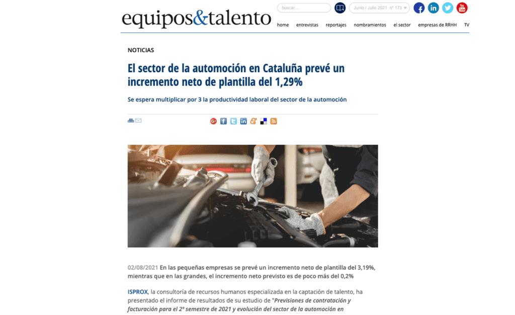 ISPROX en Equipos y Talento. Presentación estudio de previsiones de contratación y facturación en el sector de la automoción en Catalunya.